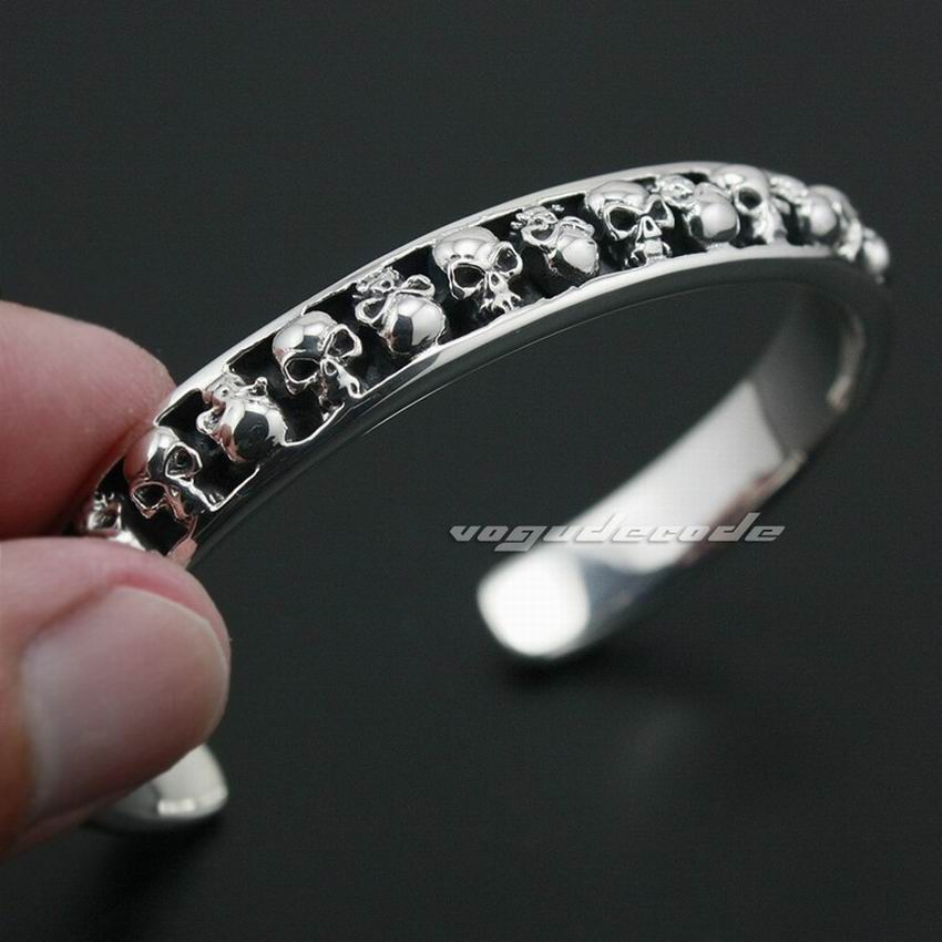 Solid 925 Sterling Silver Skulls Mens Biker Rokcer Punk Bracelet Bangle 9A010 solid 925 sterling silver flower fashion charm biker bracelet bangle 9a017
