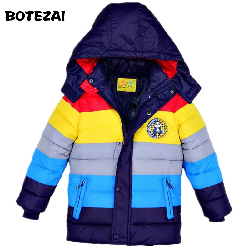 Retail 2017 New winter Children Outerwear Coats striped color boys cotton-padded jacket,Kids duck down cotton coat
