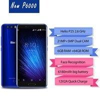 Blackview P6000 Original 5.5 Mobile Phone 4G Dual SIM Slim Smartphone 6GB+64GB Helio P25 Face ID 21.0MP Camera 6180mAh Battery