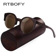 RTBOFY Wood Sunglasses Men and Women Bamboo Frame Glasses Handmade Wooden Eyeglasses Vintage Design Shades