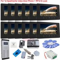RFID Card E Lock 7 Inch Color TFT Wired Door Phone Unlock Video Night Vision Doorbell