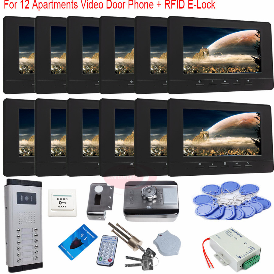 RFID Card E-Lock 7 Inch Color TFT Wired Door Phone Unlock Video Night Vision Doorbell For 12 Apartments In Stock! 7 inch wired high definition swipe card embedded installation video doorbell