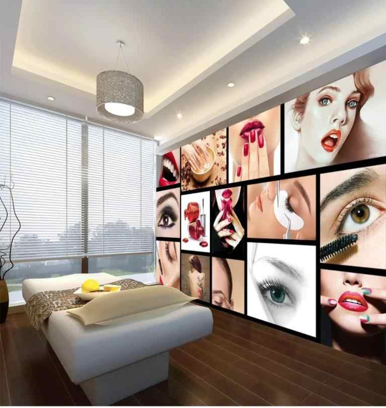 photo wall murals wallpaper European and American fashion beauty salon semi-permanent eyebrow lip nail manicure background wall