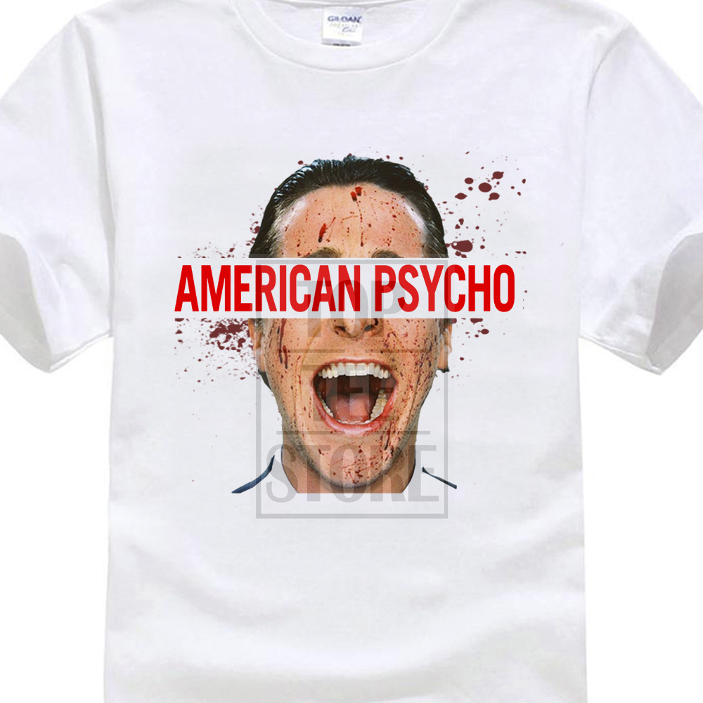 2017 New Fashion MenS American Psycho T Shirt Movie Male Film Merchandise Bloody Printed Short Sleeve Tees