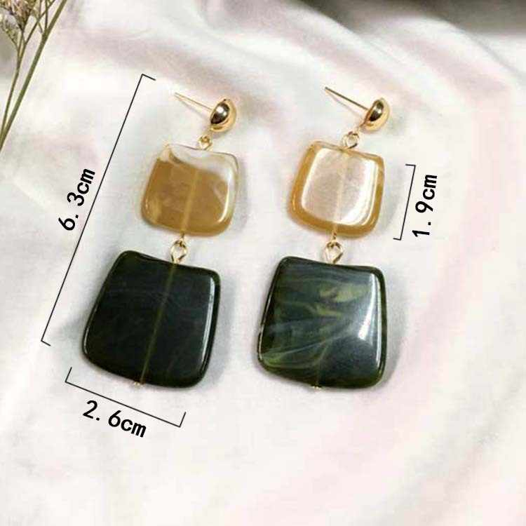 2019 new hot fashion geometric square earrings Brincos Oorbellen acrylic connection pendant ladies jewelry pendant earrings