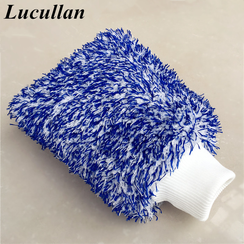 Lucullan Maximum Absorbancy Glove High Density Microfiber Premium Car Wash Mitt SCRATCH FREE Perfect For Everyday Detailing