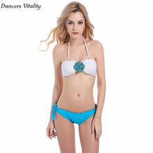 2017 female crystal diamonds sexy leaked bikini swimsuit wrist triangle women bikini swimming suit