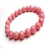 9mm Women Natural Genuine Rhodochrosite Stone Loose Round Beads Fashion Jewelry Love Stretch Charm Bracelet Femme As Gift