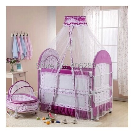 2016 Rushed Baby Crib Fashion Baby Bed Cradle Concentretor Band Mosquito  Net Roller Multifunctional Game Eco