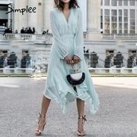 Simplee Elegant mint green dress women Long sleeve chiffon dresses summer Korean style casual pompon plus size vestidos 2019