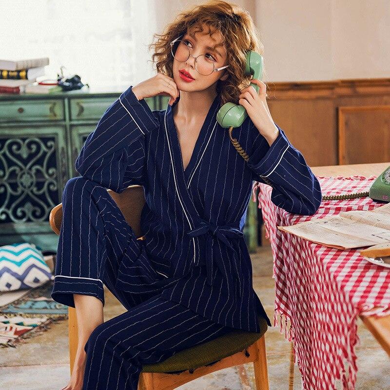 Kimono   Pajamas     Set   Women Autumn Pure Cotton Long Sleeve Cardigan Stripe Maternity Clothes Lace-up Home Clothes Puls Size 3XL