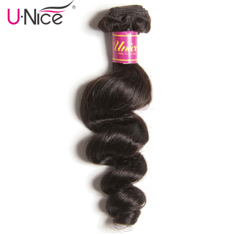 UNice Hair Company Malaysian Loose Wave Bundles 1 Piece 100 Human Hair Extension Natural Color Remy