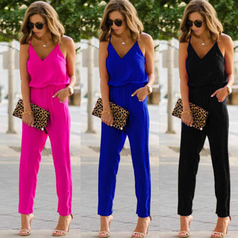 Strappy CHAMSGEND jumpsuit 2018 New Fashion wanita V Neck Pocket Pakaian Bermain Bodycon Partai Clubwear Jumpsuit June29