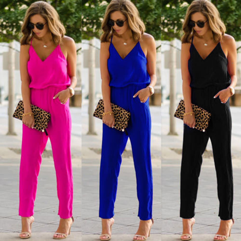 CHAMSGEND   jumpsuit   2018 New Fashion Women's Strappy V Neck Pocket Playsuit Bodycon Party Clubwear   Jumpsuit   June29