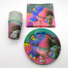 Boys Favors Tableware Set Trolls Theme Cups Glass Decoration Birthday Party Plates Dishes Baby Shower Paper Napkins 60pcs/lot