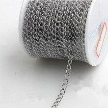 10 метровые цепочки для ожерелья из нержавеющей стали, серебряный тон 3x4 мм, для ожерелья, браслета, удлинительная цепочка, оптом, DIY материал для изготовления ювелирных изделий