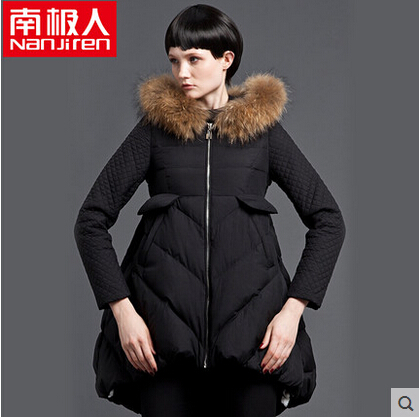 2015 Winter New Hot Thicken Warm Woman Down jacket Coat Parkas Outerwear Hooded Raccoon Fur collar Luxury Long Plus Size XL 2015 new winter warm cold woman down jacket coat parkas outerwear luxury hooded raccoon fur collar long plus size xl straight
