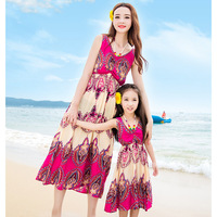 2016 Summer New Family Look Mother Daughter Dresses Europe Tide Skirt Harness Dress Beach Floral Mom