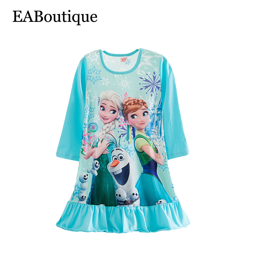 More designs New Winter long sleeve Cotton Girls nightgown kids print Cartoon princess sleepwear retail for