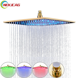 Image 1 - Promotion 8/10/12/16 inch Gold Plated Shower Head Square Rainfall Bathroom Top Over Sprayer LED Faucets Accessories
