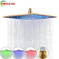 Promotion 8/10/12/16 inch Gold Plated Shower Head Square Rainfall Bathroom Top Over Sprayer LED Faucets Accessories