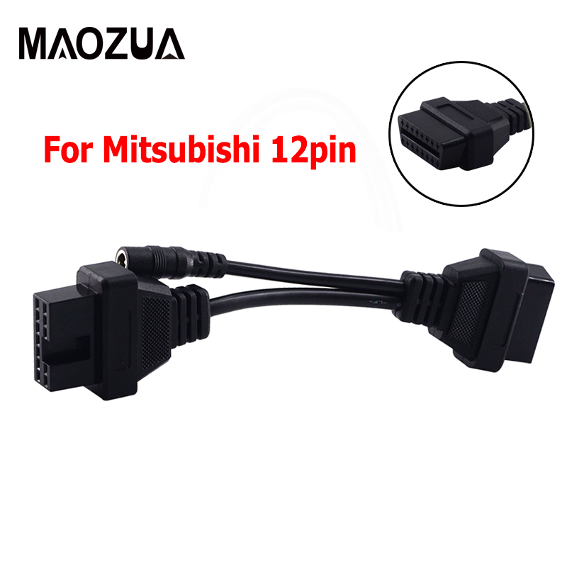 1pcs High Quality For Mitsubishi 12PinFor Mitsubishi <font><b>12P</b></font> lead OBD1 to Female OBD2 cable 12 pin Diagnostic Tool Adapter <font><b>Connector</b></font> image