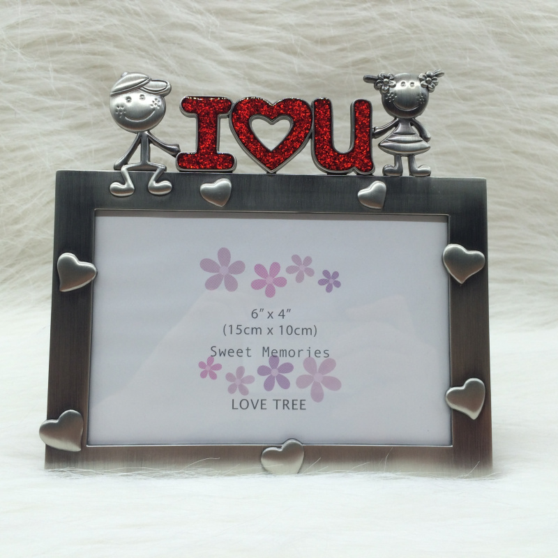 i love u antique vintage photo frame for picture baby birthday gift diy picture frame metal