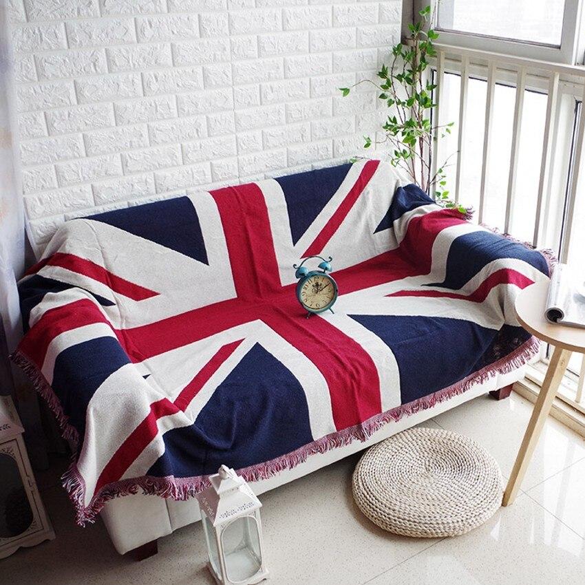 Doble lados reversible Union Jack patrón Manta de algodón, durable usable edredón, cubierta del sofá, mantas para mascotas, cubierta del piso