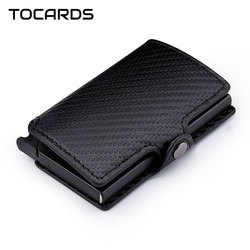 RFID 2019 Fashion Men's Carbon Fiber Leather Credit Card Holder Automatic Aluminum Metal Cardholder Male Wallet Slim Case Purse