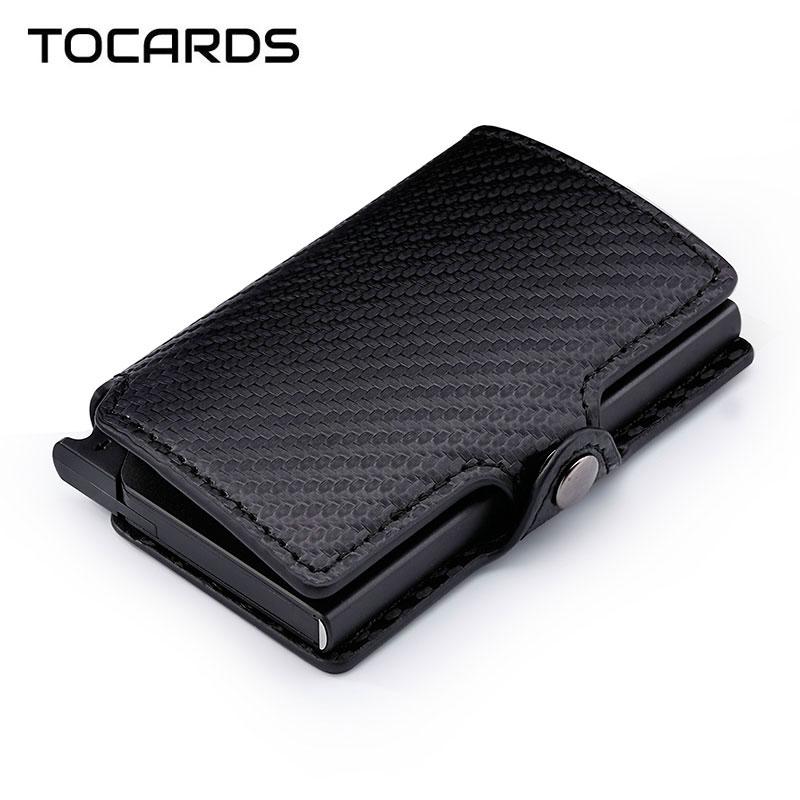 RFID Blocking 2019 Men's Carbon Fiber Credit Card Holder Automatic Aluminum Metal Cardholder Male Slim Wallet Leather Case Purse