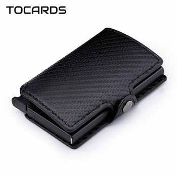 RFID Blocking 2019 Men's Carbon Fiber Credit Card Holder Automatic Aluminum Metal Cardholder Male Slim Wallet Leather Case Purse - DISCOUNT ITEM  45% OFF All Category