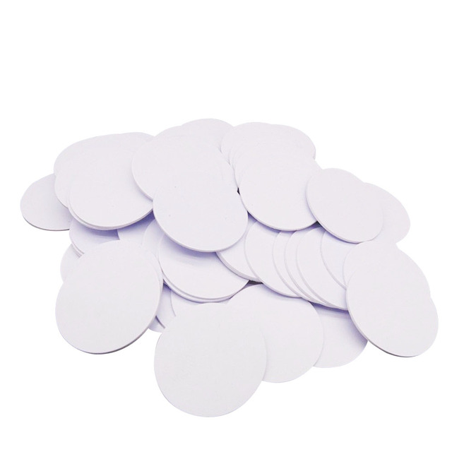 (10pcs/lot)Compatible MF1 S50 Waterproof 25mm x 1mm 13.56MHz RFID Tag PVC Coin Card FM1108 coin card tags