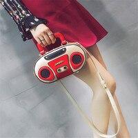 Rock style Retro Radio Shape Handbags Women Shouder Bag PU Leather Women's Fashion Rivet Letter Bag Korea Punk Tote Bag