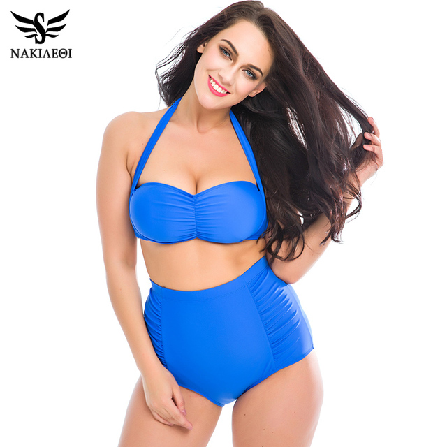 1d22c7f6365 NAKIAEOI High Waist Swimsuit 2019 New Bikinis Women Plus Size Swimwear  Halter Top Swimsuit Large Size Bikini Set Bathing Suits