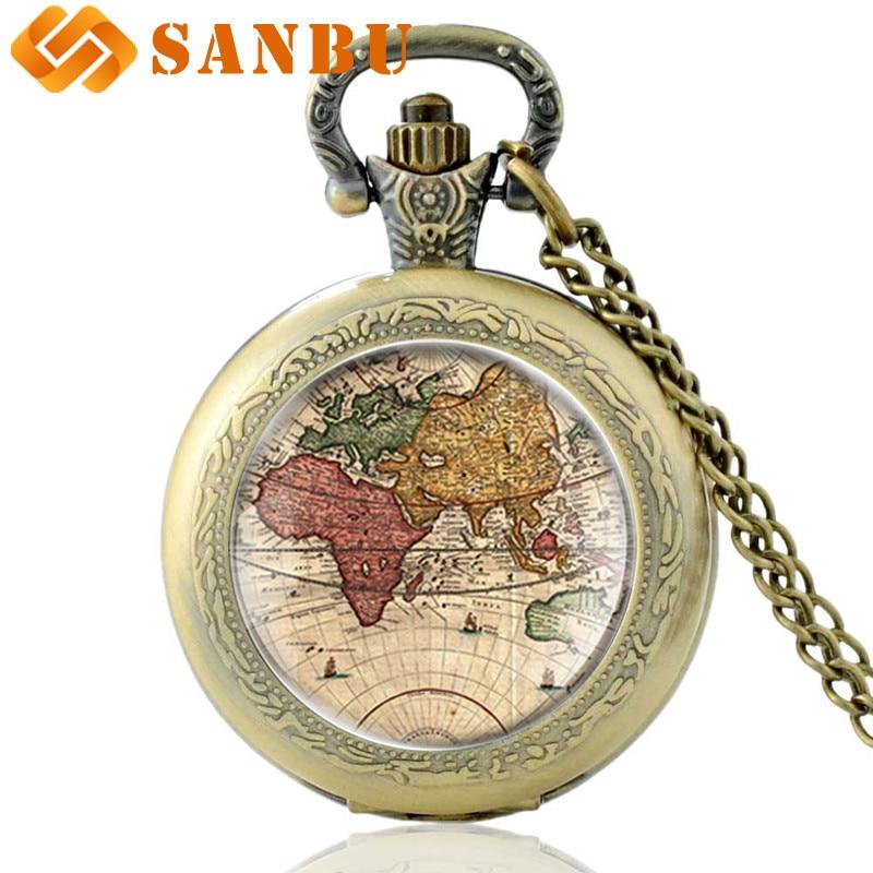 Retro World Map Silver Quartz Pocket Watch Vintage Men Women Classic Map Pendant Necklace