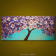 Canvas painting on the wall painting for entrance way canvas wall art photos palette knife hand painted Purple flower tree