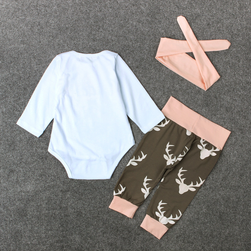 3710c33a6d7 Infant Clothes Valentines Newborn Baby Girl Set Daddy s Girl Cotton Bodysuit +Headband+Cute Deer Pants Daddys Girl Outfits PN50-in Clothing Sets from  Mother ...