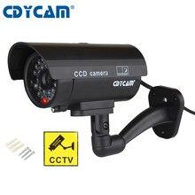 Cdycam câmera de vigilância residencial, falsa, manequim, à prova d' água, ar livre, câmera de vigilância, cctv, pisca-pisca, vermelho, led, frete grátis