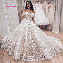 LEIYINXIANG New Luxury Appliques Court Train Ball Gown Wedding Dresses Fashion Lace Princess Bridal Gowns Plus Size Sweetheart lovely tulle ball gown wedding dress 2019 new sweetheart lace appliques off shoulder court train princess church bridal dresses