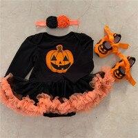 Cute Newborn Infant Baby Girls Rompers Halloween Pumpkin Clothes 3PCS Lace Tutu Dress+Headbands+Shoes Bebes Long Sleeve Jumpsuit