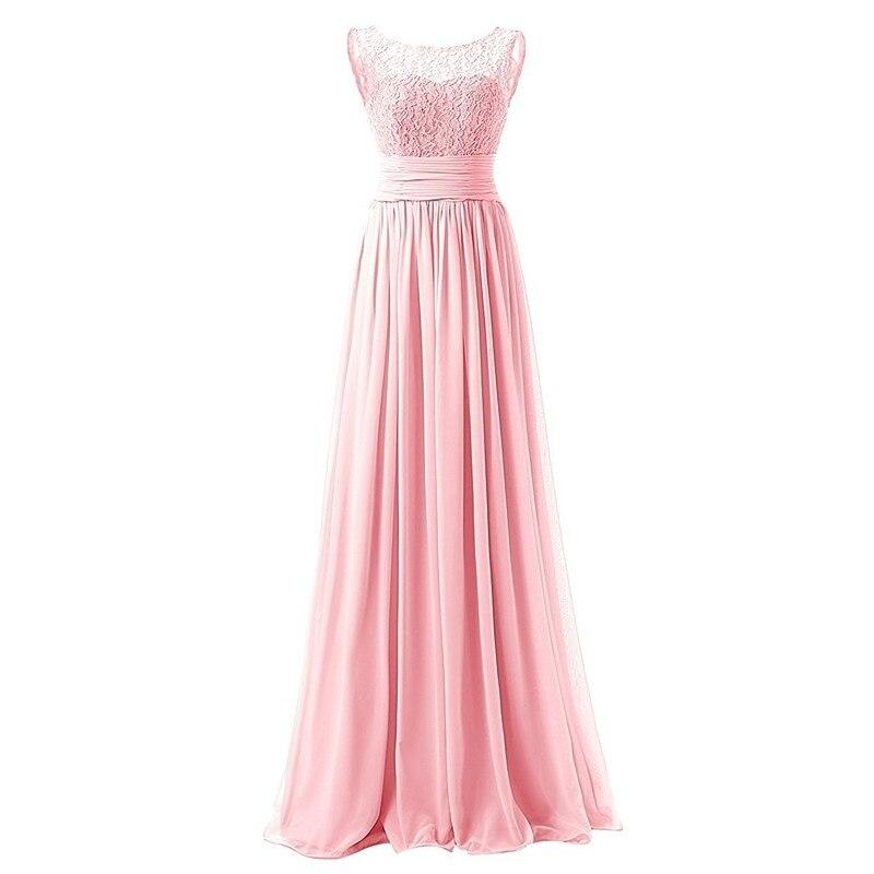 5d36894449 Barato Bidesmaid Vestidos Largos 2017 Nueva Gasa de Encaje de La Boda  Vestido de Fiesta Eventos Formales Prom Vestidos Real Photo en Vestidos de  dama de ...