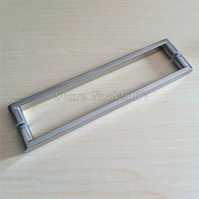 1Pair 304 Stainless steel square pipe handle polish chrome shower room glass door handle C-C: 400mm JF1252 h007lr frameless bath room shower glass door square tube handle l shape with r 304 stainless steel polish chrome