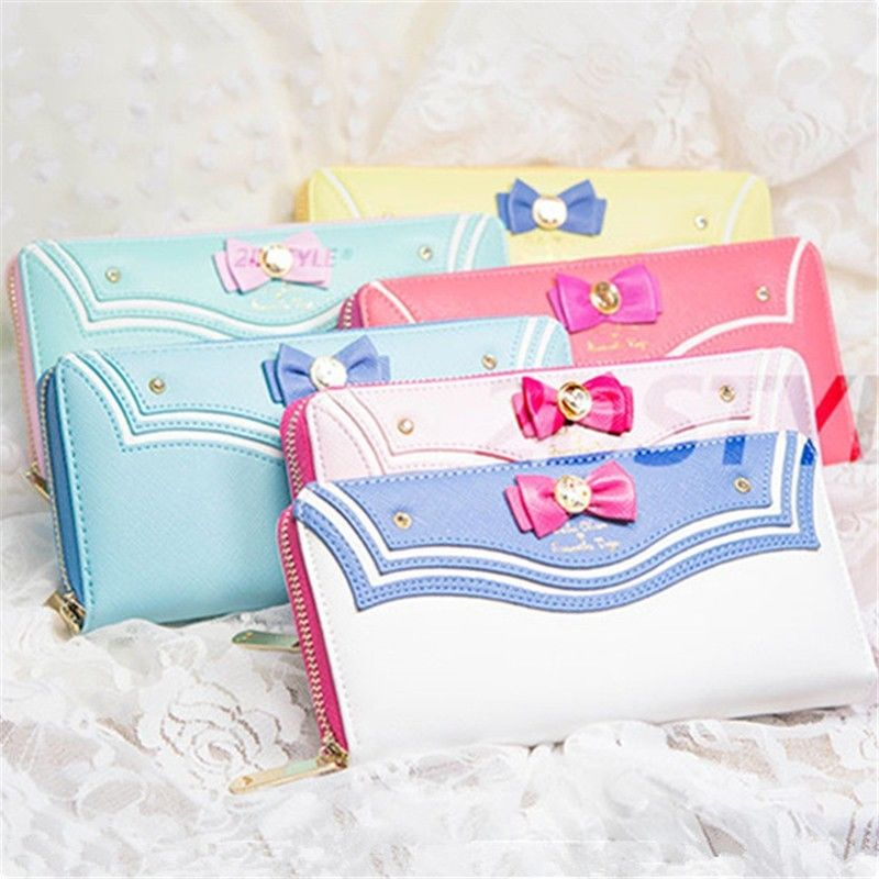 Anime Sailor Moon Cartoon Bow Knot Sweet Girl Zipper PU Leather Long Wallet Clutch Case Gift Collection N7062825