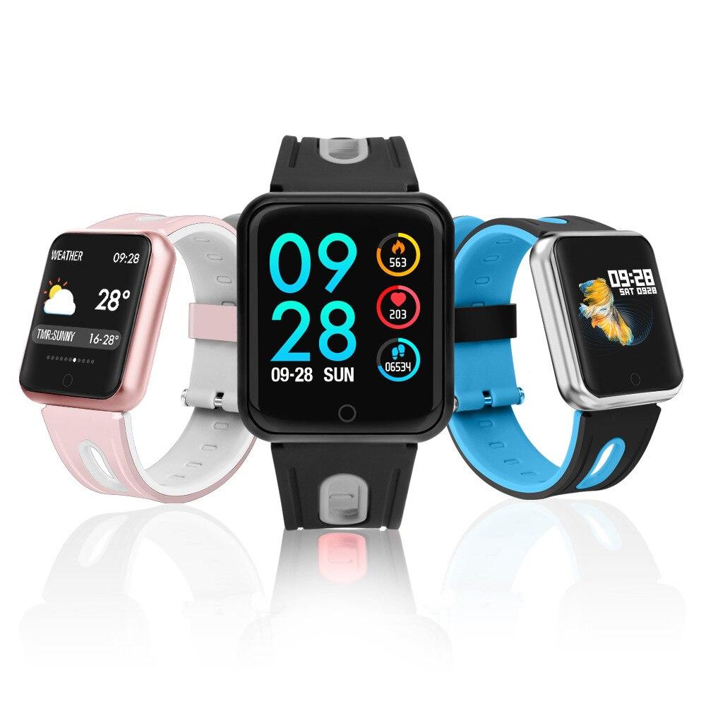 Recentes 1.3 ''Tela Colorida Esporte Relógio Inteligente Monitor de Pressão Arterial e Freqüência Cardíaca de Natação mulheres Smartwatch menor do que iWO 5 6
