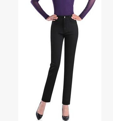 Cotton casual pants for font b women b font slimming high waist solid colour straight font