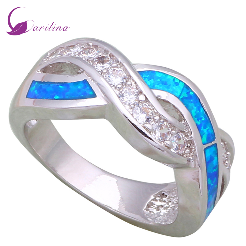 Sterling Silver Fire Fire Opal /& Cz Fashion Ring With CZ Stones,Width 10mm