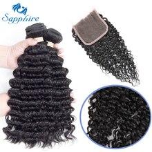Сапфир глубокая волна Реми Человеческие волосы 3 Связки с 13*4 Синтетический Frontal шнурка волос натуральный Цвет для волос Salon соотношение длинный волос РСТ 25%