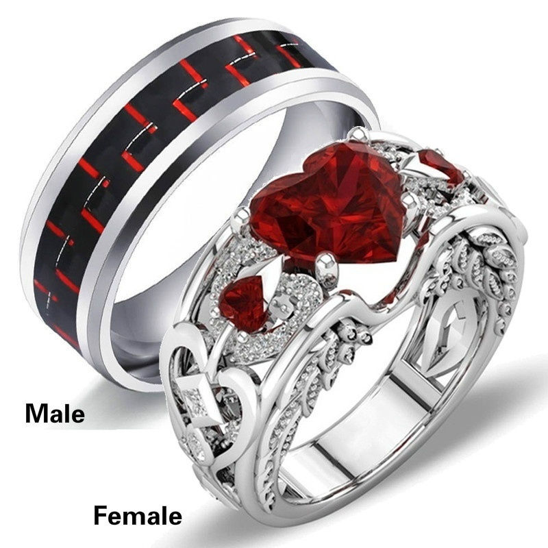 Charm Couple Rings Titanium Ring Men Wedding Ring White Gold Engagement Ring Women Angel Wing Red Heart Ring Bridal Jewelry Wedding Bands Aliexpress