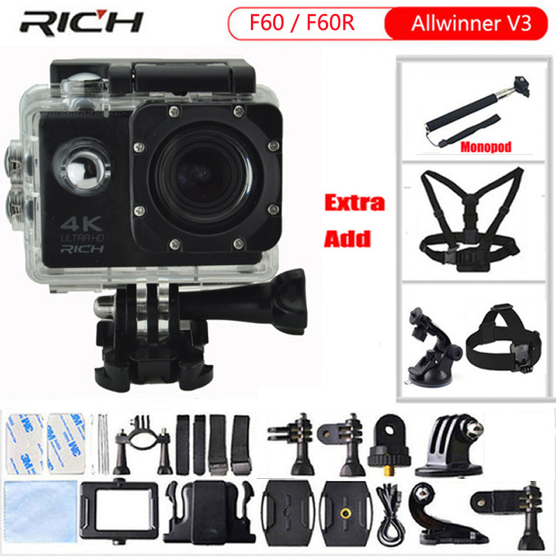 Action Camera F60R Remote Controller Wifi 4K 1080p Extreme go pro Mini Diving Waterproof 30m F60 Sport Camera f88 action camera black