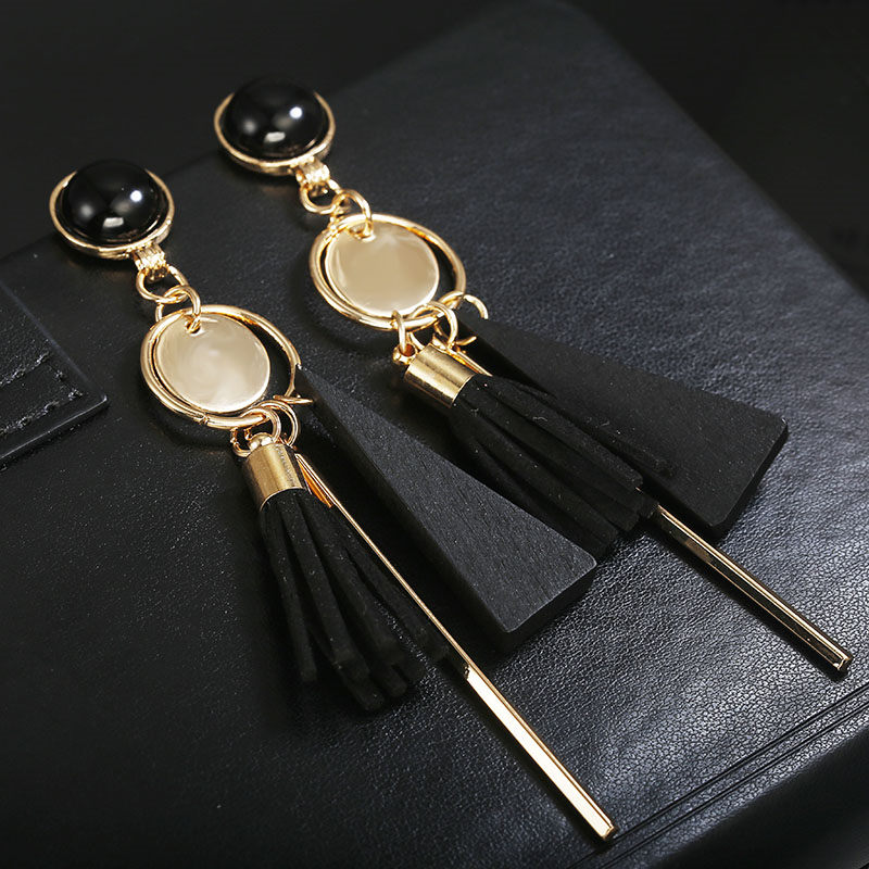 Personality Fashion triangle geometric wood earrings Retro female tassel long women earrings Jewelry 4